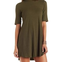 Olive Mock Neck Ribbed Swing Dress by Charlotte Russe