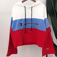 Champion Newest Trending Women Stylish Stitching Color Long Sleeve Hoodie Sweater Top Sweatshirt