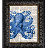 COMMON OCTOPUS - nautical blue Dictionary Art Print