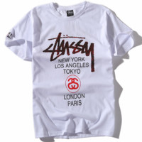 STUSSY Serpentine Limited Edition Men and Women Couples T-shirt Short Sleeve F0453-1