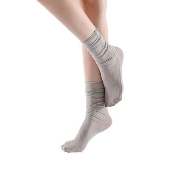 Neverminder Slouch Sheer Crew Sock | Grey