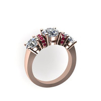 Classic Three-Stone Moissanite Engagement Ring With Pink Sapphires 14K Rose Gold - V1069