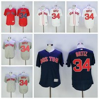 Boston Red Sox Baseball 34 David Ortiz Jersey Flexbase retired Patch Big Papi Final season White Grey Red Cool Base Drop Shipping Available