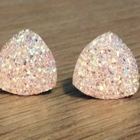 Druzy earrings-  Triangle iridescent light pink druzy earrings