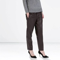 ZARA WINE BROWN FAUX LEATHER TROUSERS WITH SIDE SPLITS SIZE XS EXTRA SMALL