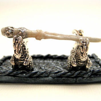 Magic Wand Display Stand with dragon accents in dollhouse miniature