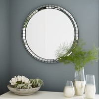 Chevron Tile Round Mirror