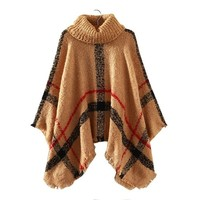 Autumn Winter Women Turtleneck Poncho Sweater Korean Fashion Loose Batwing Sweater Women Knitted Ponchoes And Capes Coat C1749