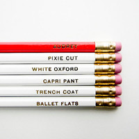Audrey Hepburn Pencils- The 'Girls with Gumption' Collection, White, Red, & Gold-Set of 6