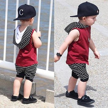 2 pieces Sleeveless Hoodie Top and Stripe Pant Set For Toddler and Baby Boy Clothes Outfit