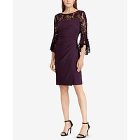 Lauren By Ralph Lauren Womens Shift Dress Purple Size 18 Lace Yoke $165 058