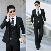 Mens Black Skinny Suits with Blazer Vest & Trousers