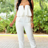 White Strapless V-Cut Cropped Accent Jumpsuit