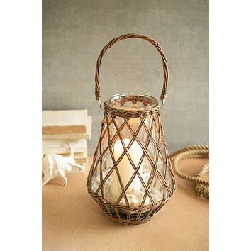 Wicker Wrapped Lantern Vase With Handle