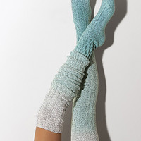Biscay Bay Dip Dye Marled Cable Knit Thigh High Socks