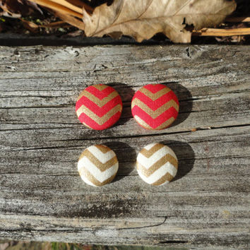 Red Button Earrings, Gold Button Earrings, Chevron Earrings, Button Earrings, Earring Set, Stocking Stuffer, Christmas, Gifts Under 20