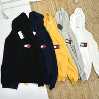 Tommy classic couple logo embroidered Plush Hoodie
