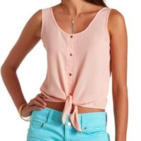 Button-Up Tie-Front Crop Top by Charlotte Russe - Peach