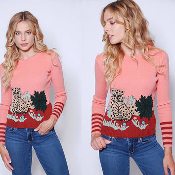 Vintage 70s JUNGLE Cat Sweater Fitted NOVELTY Sweater CHEETAH Sweater