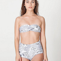 American Apparel - Editorial Print Nylon Tricot High-Waist Swim Brief