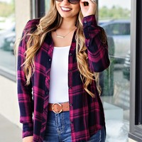 * But Wait There's More Plaid L/S Top: Raspberry/Navy
