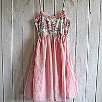Upcyled Women's Cottage Chic Dress / Ladies Romantic Pink Tank Top / Babydoll
