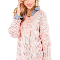 Pink Cable-Knit Long Sleeve Sweater