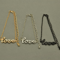 "Fashion Gold/Silver/Black Jewelry Cute Love 7""+3""Bracelet Chain VFL"
