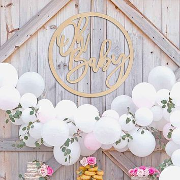 Oh Baby Round Wood Baby Shower Backdrop Sign