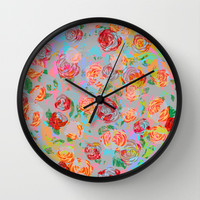 Vintage Roses Wall Clock by Ornaart | Society6