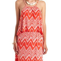 Chevron Print Flounce Halter Dress by Charlotte Russe