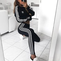 ADIDAS Trending Women Men Lovers Two Piece Suit Sports Set Side Line Stripe
