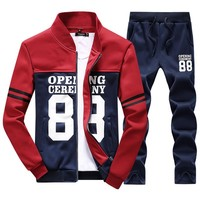 Spring Autumn Men Joggers Jacket+Pant 2 Piece Set Tracksuits Male Baseball Sporting Suit Clothing
