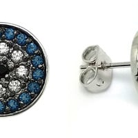Sterling Silver Blue & Black Inlay Stud Earrings