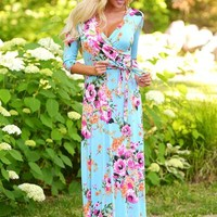 Rewind The Time Maxi Dress - Turquoise