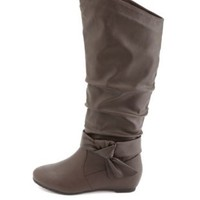 Knotty Bow Slouchy Sliver Wedge Boots by Charlotte Russe - Brown