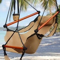 Best Choice Products® Hammock Hanging Chair Air Deluxe Sky Swing Outdoor Chair Solid Wood 250lb Tan