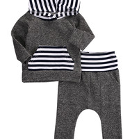 2Pcs/Set! New 2016 baby boy clothing set cottonHoodie T-shirt Top+Pant fashion baby boys clothes newborn infant 2pcs suit