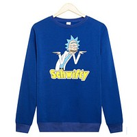 Rick and Morty Rick and Moti cartoon T-shirt sleeve head plus cashmere sweater sweater Blue
