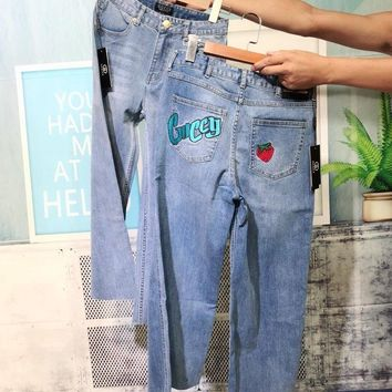 """""""Gucci""""All-match Fashion Casual Irregular Ripped Strawberry Worn Beggar Crimping Long Pants Loose Jeans"""
