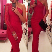 Cute Sexy Cocktail Red Floral Lace Trimmed One Single Sleeve Evening Dress