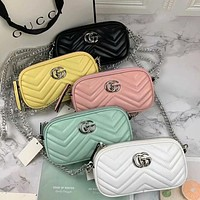 Gucci classic mini long bag with textured leather texture Hot selling fashion ladies shoulder messenger bag