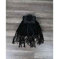Fringe Leather Studded Detailing Backpack in Black