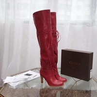 LV Louis Vuitton Women Heels Shoes Boots 2019 knight boot Winter autumn red leather best quality