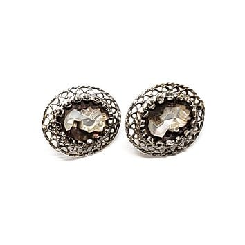 Mother of Pearl carved Victorian lady cameo sterling silver vintage post stud earrings 925