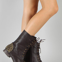 Studded Military Lace Up Boot
