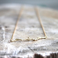 16k Gold Plated Tree Branch Stick Necklace - 20 inch chain