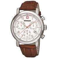 Wenger 01.1043.104 Men's Urban Classic Chrono White Dial Brown Leather Strap Watch