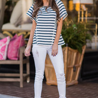 Hyped For Stripes Top, Navy
