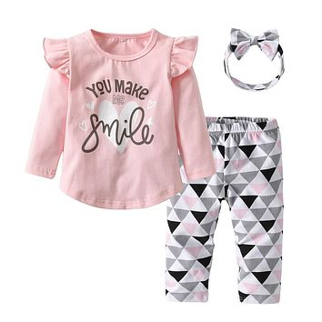Infant Clothing Newborn Baby Girls Clothes 3Pcs Set Cute Toddler Cotton You Make Me Smile Outfits Set T-shirts+Pants+Headband